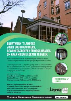 Buurtwerk 't Lampeke zoekt buurtbewoners, organisaties of bedrijven om haar nieuwe locatie mee te delen!